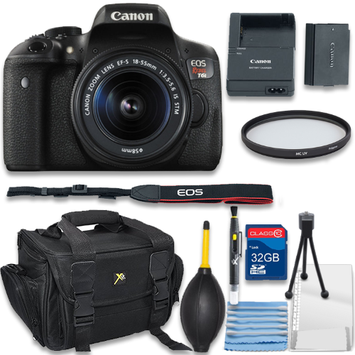 Als Variety Canon EOS Rebel T6i Digital SLR Camera with EF-S 18-55mm IS STM Bundle includes Camera, 32GB Memory Card, UV Filter, Bag, Cleaning Kit