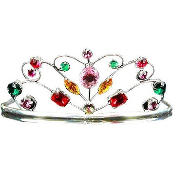 Elope Silver Tiara Costume with Rainbow Jewels