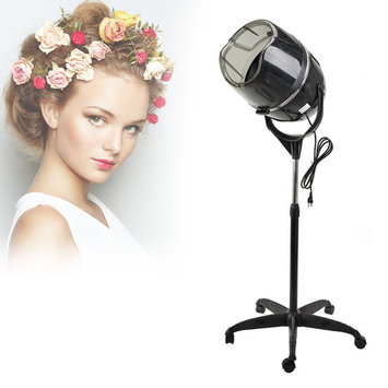 Professional Stand Up Hair Dryer 110V with Timer Swivel Hood Caster Adjustable Height for Beauty Salon (Black)