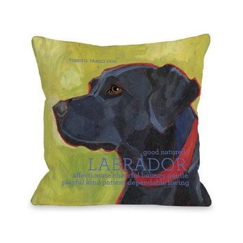 One Bella Casa Labrador 1 Throw Pillow, 18 by 18-Inch [Labrador 1]