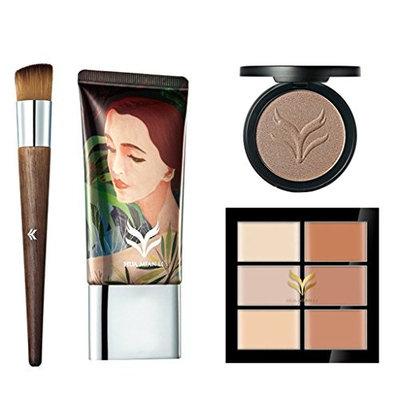 Dovewill Facial Makeup Set 6 Colors Concealer Palette Foundation Blender Sponge Puff Angled Brush Comestics