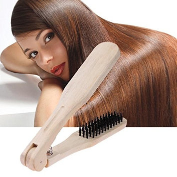1 Set Combs Hair Brush Wooden Straightener Comb Anti-Static Hairdressing Styling Tools Hairbrushes Combo Pocket Long Round Handle Holder Cool Popular Beard Natural Grooming Women Travel Kit