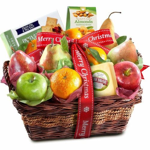 Merry Christmas Fruit Basket with Cheese and Nuts [Christmas]