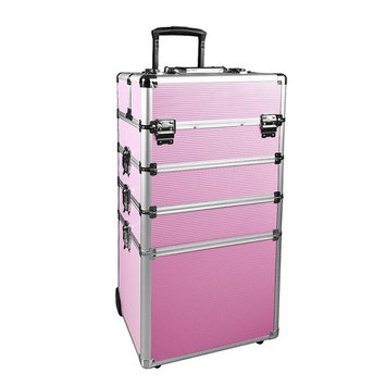 Makeup Rolling Train Case 4-in-1 Professional Artist Trolley Cosmetic Organizer with 2 Wheels Durable Aluminum Frame Folding Trays and Locks (13.4×10.4×28.7 In, Silver)