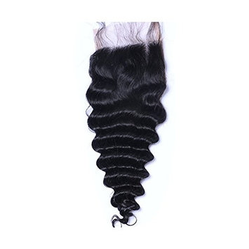 Chisonhair 4x4 Free Part Deep Wave Lace Closure with Baby Hair Natural Black Brazilian Virgin Human Hair Closures No Bleached Knots (14