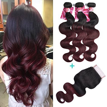 XCCOCO Hair 7A Peruvian 1b/99j Body Wave with Closure 3 Bundles Two Tone Ombre Wine Red Body Wave with 4x4 Free Part Lace Closure(10 12 14+10closure)