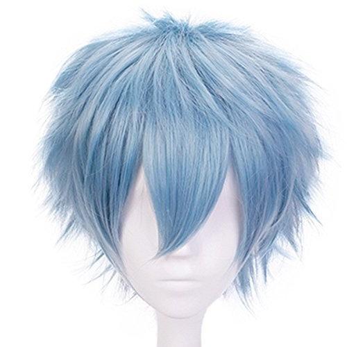 Anogol Hair Cap+Blue Anime Cosplay Wig Short Synthetic Hair Halloween Costume Hero Wigs