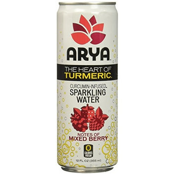 ARYA Turmeric Sparkling Water, Mixed Berry, 12 Fluid Ounce (Pack of 12)