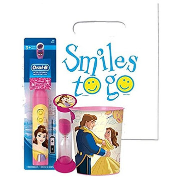 Beauty and the Beast Princess Belle 3pc Bright Smile Oral Hygiene Bundle! Turbo Powered Toothbrush, Brushing Timer & Mouthwash Rinse Cup! Plus Dental Gift & Remember to Brush Visual Aid!