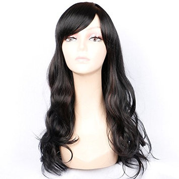 Loose Wave Wigs Back and Red Highlight Wig Long Curly Wig for Women Synthetic Wig Cosplay Daily Party Wig Body Wave 18 inches, 1b/33