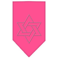 Mirage Pet Products 67-25-15 LGBPK Star Of David Rhinestone Bandana Bright Pink Large