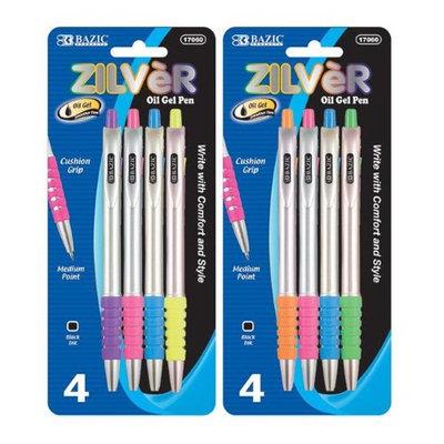 Bazic Zilver Side Click Rollerball Gel Retractable Pen, 4/Pack