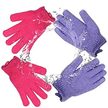 Exfoliating Bath Gloves Body Spa Gloves Dead Skin Cell Remover Health Care Gloves Shower Massage Scrubber and Improves Blood Circulation, 2 Pairs