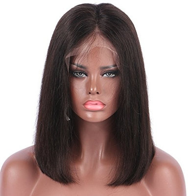 DLME Black Wig Middle Part Heat Resistant Synthetic Lace Front Wig With Baby Hair 12inch Short Bob Wig For African American Wigs