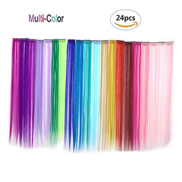 OKOK Bundle 24 Pieces Of 20 inches Multi-Colors Party Highlights colorful Clip In Synthetic Hair Extensions,Straight Long Hairpiece