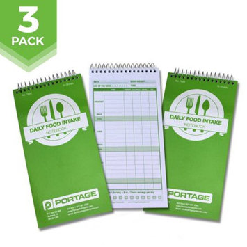 Portage Notebook Daily Food Intake Journal Notebook â 4â x 8â Meal Tracker/Food Diary to Log Calories, Carbs, Fat and More â 140 Pages (3 Pack)