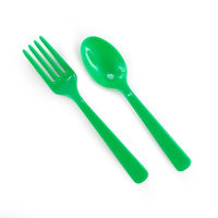Party Destination Forks Spoons - Green (8 each)