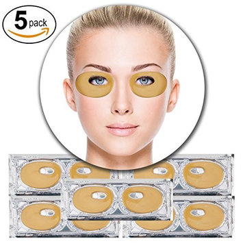 Set Kit of 5 Pairs 24K Gold Golden Collagen Gel Crystal Masks Eyelids Patches Eyes Pads for Intense Moisturizing Hydrating, Skin Firming Lifting, Wrinkles Removal and After Sun Sunburn Treatment