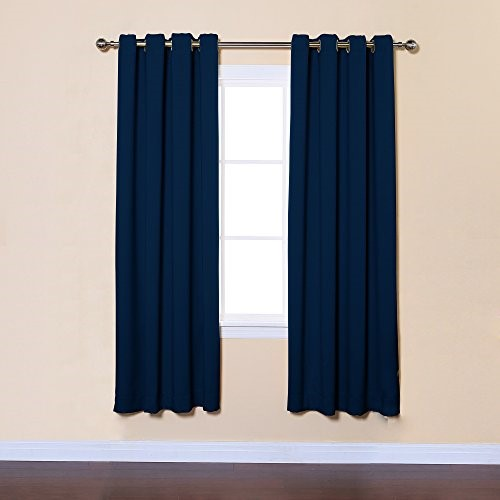 Best Home Fashion Navy Solid Grommet Top Thermal Insulated Blackout Curtains 52 W x 72 L Pair - GT
