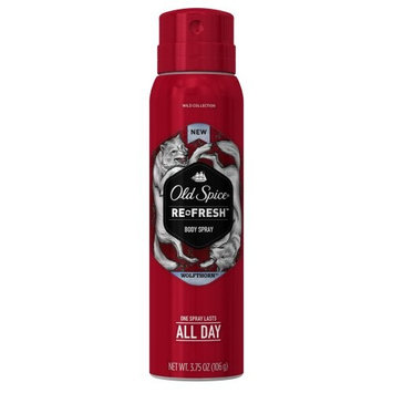 3 Pack Old Spice Wild Collection Re-Fresh Wolfthorn Body Spray 3.75 Oz Each