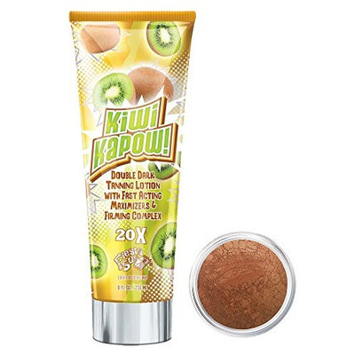 Fiesta Sun Kiwi Kapow Tanning Lotion + Bronzer Makeup | Gold Digger | Mineral Makeup by Giselle Cosmetics | Pure, Non-Diluted Mineral Make Up