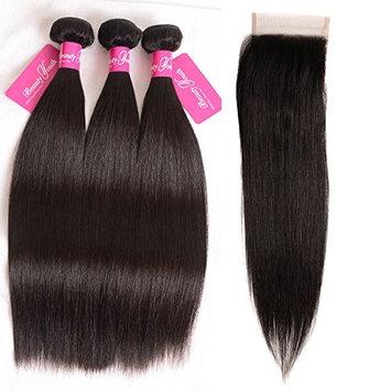 Beauty Youth Brazilian Straight Virgin Hair 3 Bundles Brazilian Straight 7A Unprocessed Virgin Hair Human Hair Bundles (8 10 12+8 free part, Natural Color)