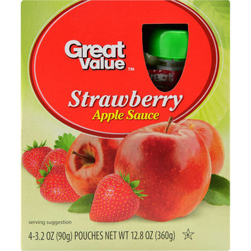 Great Value Applesauce Pouches, Strawberry, 4 Count
