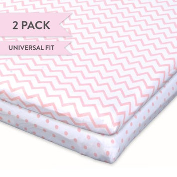 Ely's & Co Pink & White Chevron & Dot Bassinet Sheet Set