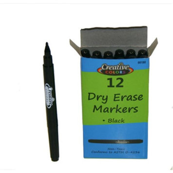 Creative Colors 2273638 Dry Erase Markers - Black Case of 288