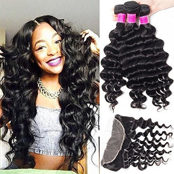 RECOOL Brazilian Hair Loose Deep Wave Bundles with Frontal Closure 8a Virgin Hair Wet and Wavy Human Hair Extensions Ear to Ear Lace Frontal with Bundles(16 18 20+16)