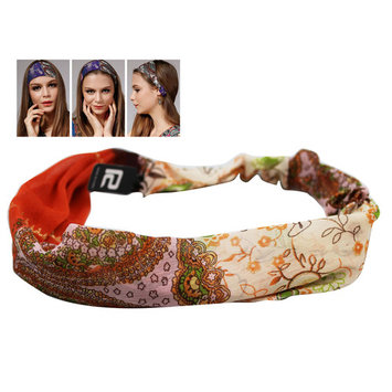 White and Orange Colored Wild Girl Headband With Floral Design
