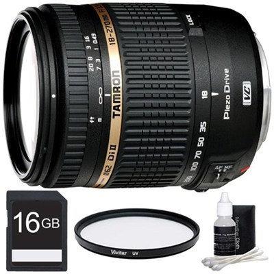 Tamron 18-270mm f/3.5-6.3 Di II VC PZD Aspherical Canon Lens 16GB Bundle