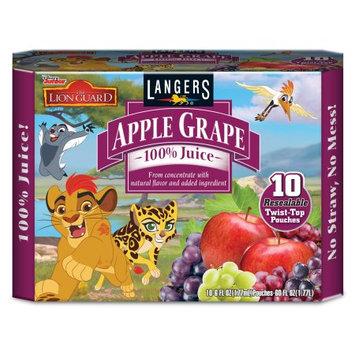 Langers Juice Langers Disney 100% Juice Drink Pouches, Apple Grape, 6.75 Fl Oz (Pack of 10)