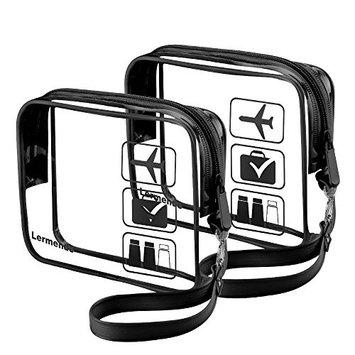 Lermende Clear Toiletry Bag TSA Approved Quart Sized Travel Airport Airline Compliant Bag Makeup Organizer for Liquids/Bottles| Men's/Women's 3-1-1 Kit with Detachable Strap