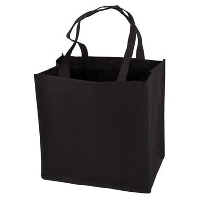 True Fabrications 2931 Black Reusable Grocery Tote