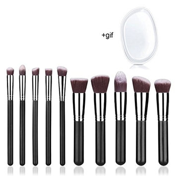 Makeup Brushes 10 Pcs Professional Kabuki Foundation Blending Make Up Brush Set and Silicone Sponge for Powder Liquid Cream Fits Eye Shadow Eyeliner Face Nose