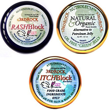 3rd Rock Essentials 3rd Rock Skin Essentials / of RASHBlock, ITCHBlock and Nutroleum Jelly / Rash treatment, Itch relief and Skin Moisturizer (Pack of 3)