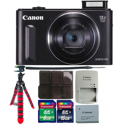 Canon PowerShot SX610 HS 20.2MP 18x Optical Zoom Wifi Digital Camera with 8GB Memory Card Black & Tripod