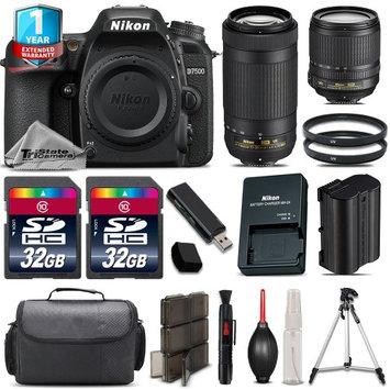 Tristatecamera Nikon D7500 Camera + 18-105mm VR + 70-300mm VR + 64GB Kit + Tripod +1yr Warranty