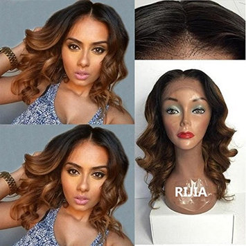 RIJIA Human Hair Wigs Ombre Lace Front Wig 1B 30 Two Tone Dark Roots Body Wave Full Lace Wigs For Black Women With Baby Hair Middle Part(16inch lace front cap)