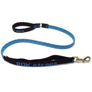 Rok Straps 3 in 1 Anti-Pull Solid Rubber Leash - Size: Medium (54 H x 0.75 W x 0.25 D), Color: Black on Blue