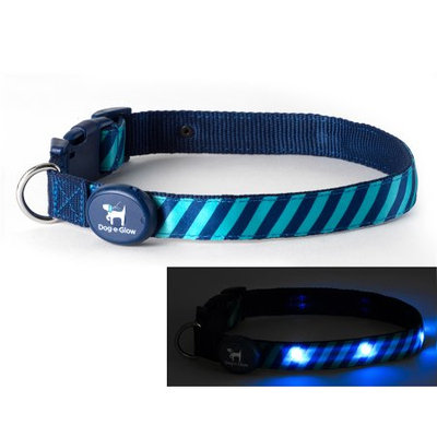 Dog-e-glow Light Up LED Dog Collar - Patented Light Up Durable Glowing Collar for Puppies and Dogs - by Dog e Glow (Green Stripes, small 8