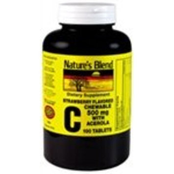 Nature's Blend Vitamin C Chewable Acerola, Strawberry 500 mg 100 Tablets
