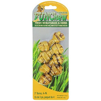 SPR PW-013230 Porkhide Bones with Wheatgrass for Dogs, Pack of 6
