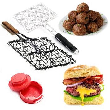 Stuffed Burger & Meatball Grilling Baskets + Press Set Steven Raichlen Maker Pan
