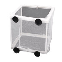Aquarium Rectangle Plastic Frame Fry Hatchery White Net Breeder w Suction Cups