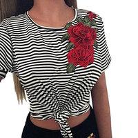Ladies Short Sleeves Blouse,FAPIZI Women Fashion Bare Midriff Striated Appliques Rose Tops