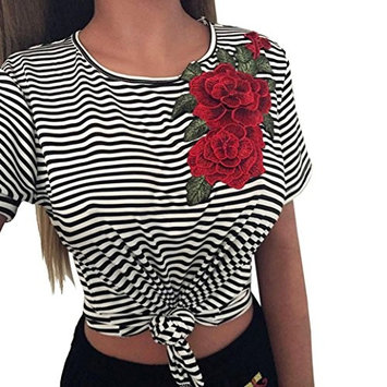 Ladies Short Sleeves Blouse,FAPIZI Women Fashion Bare Midriff Striated Appliques Rose Tops
