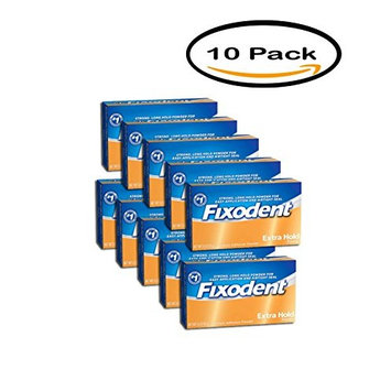 PACK OF 10 - Fixodent Extra Hold Denture Adhesive Powder, 1.6 oz