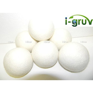 i-gruv Wool Dryer Balls Set 6 XXL by Reusable Natural Fabric Softener ~ SGS Certified ~ New Zealand EcoFriendly Hypoallergenic Felt ~ Dryer Sheets Alternative ~ New Born Baby Mom to Be Gift Basket